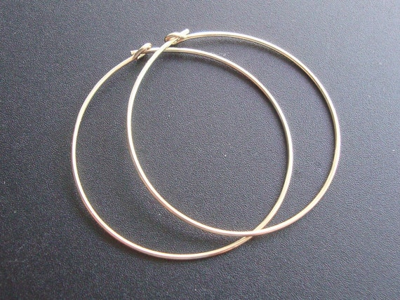 14k Gold Filled Hoops Earrings Earwires, 30mm 1.25 inch, 3 pairs - Hallmarked
