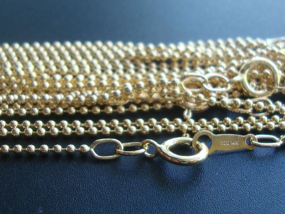 """1 pc, 20"""" 51cm,1.2mm bead, 14K Gold Filled Beaded Ball Chain w Spring Clasp, Shinny, Tarnish Resistant"""