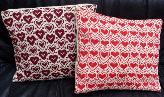 LOVE YOU Cushion Pillow Cover Knitted With Hearts