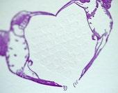 Letterpress Valentine Love card - Humming Heart