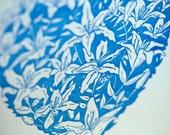 SALE - Letterpress Love Valentine card - Lily Heart