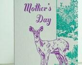 SALE- Letterpress Mother's Day Card - Deer Mom