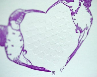SALE - Letterpress Wedding Valentine Love card - Humming Heart - 60% off