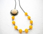 Flower Necklace One Strand Yellow Necklace Bridesmaid Necklace Yellow Jewelry Choker Necklace