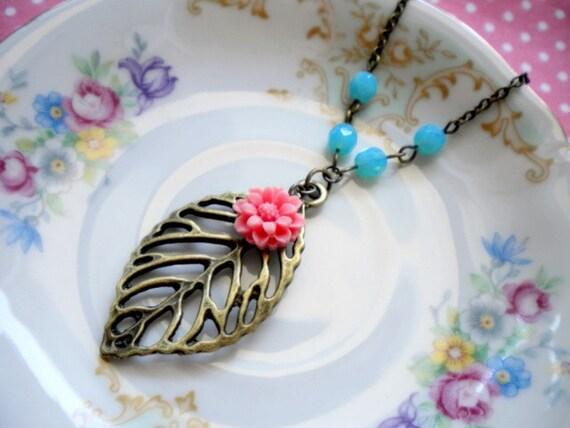 Leaf Necklace Antique Brass Leaf Pendant Necklace Turquoise Glass Necklace Pink Flower Necklace Leaf Charm Pendant Turquoise Necklace