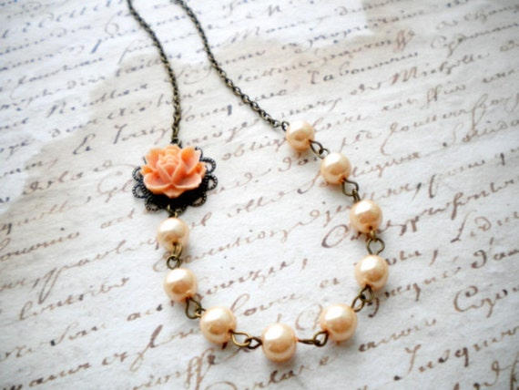 Bridesmaid Necklace - Flower Necklace - Peach Necklace - Glass Pearl Necklace