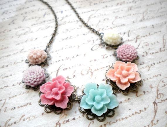 Bridesmaid Bib Necklace Wedding Jewelry Statement Flower Necklace Pastel Necklace Statement Jewelry