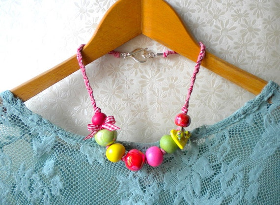 Colorful Bib Necklace Braided Rope Necklace Ceramic Necklace Colorful Jewelry Beadwork Colorful Statement Necklace