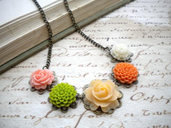 Flower Necklace Choker Necklace Flower Jewelry Rose Necklace