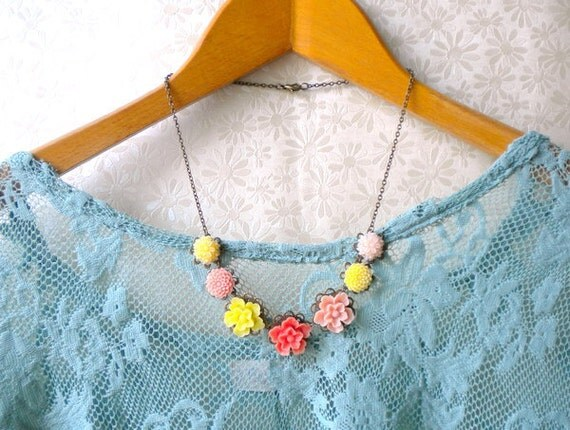 Flower Necklace Peach Necklace Bridesmaid Necklace Bib Necklace Yellow Statement Necklace Flower Cabochon Necklace Yellow Necklace