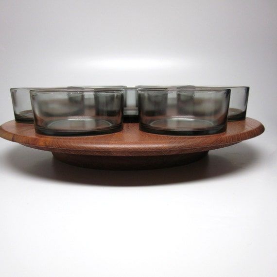 Digsmed Teak Lazy Susan with Glass Dishes - Denmark