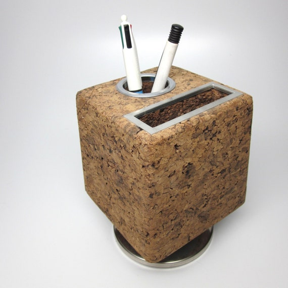 Seventies Cork and Chrome Notepad and Pen Holder