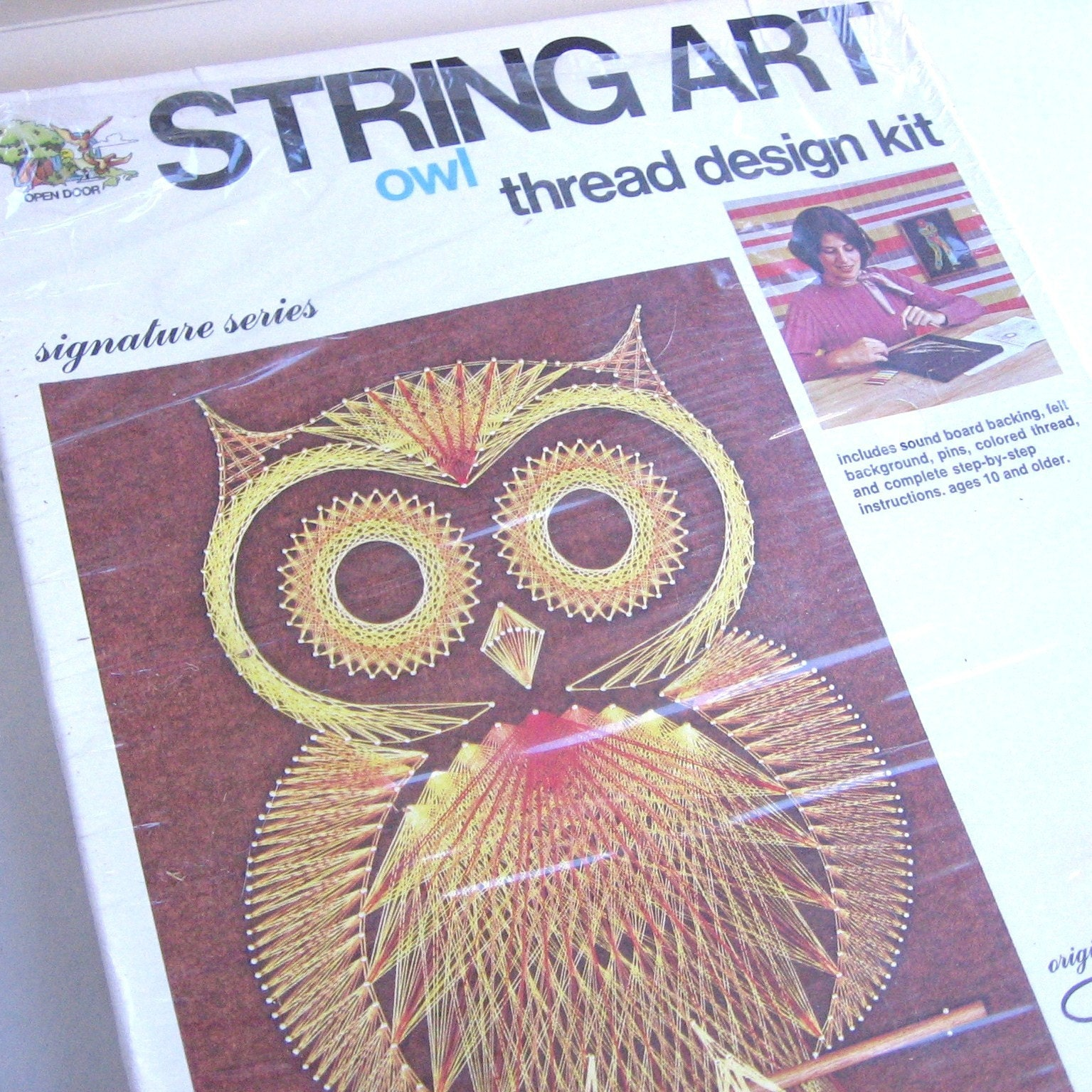 orange owl string art kit1970s. Black Bedroom Furniture Sets. Home Design Ideas