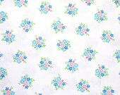 Blue & Pink Bouquet Vintage Sheet - Fat Quarter (FB007)