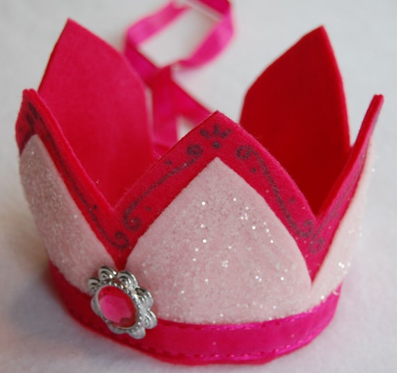 light and hot pink glittery felt crown with pink and silver sparkling gem
