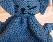 Large Hand knit Bunny Buddy Blanket