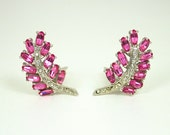 Vintage Earrings Hollycraft Pink Diamante Rhinestone Antique Jewelry