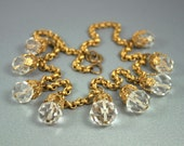 Art Deco Necklace Gilt Filigree Crystal Bib Dangle Jewelry