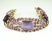 Vintage Bracelet Purple Rhinestone Glass Cabochon Antique Jewelry