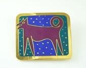 Vintage Brooch Laurel Burch Night Dog Enamel 1980s Jewelry