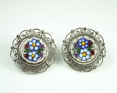 Vintage Miniature Mosaic Floral Silvertone Filigree Earrings