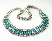 Vintage Necklace Clear Aqua Blue Rhinestone Antique Jewelry