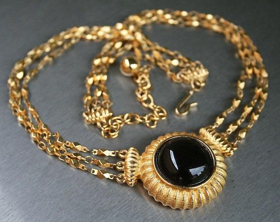 1960's Mod Etruscan Revival Black Glass Cabochon Pendant Necklace