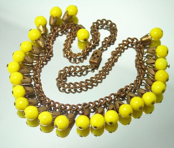 Art Deco Brass Fringe Yellow Glass Bib Charm Necklace