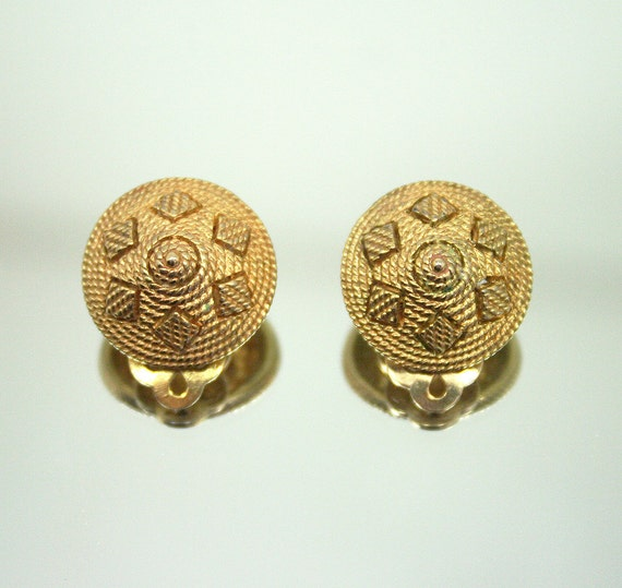 Vintage Ciner Earrings Tribal Motif 1960s Jewelry