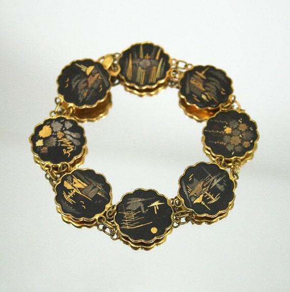 vintage amita japan shakudo damascene bracelet