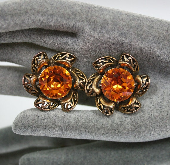 Vintage Earrings Hollycraft Amber Glass Cabochon Goldtone Ornate 1950s Jewelry