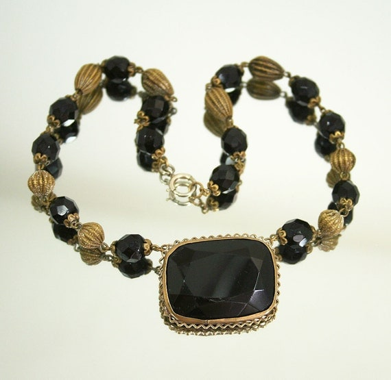 RESERVED... Art Deco Necklace French Jet Gold Bead Choker Antique Jewelry