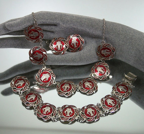 Vintage Necklace Bracelet Earrings Siam Sterling Red Enamel Antique Jewelry Set