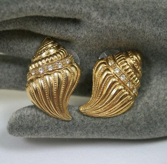 Vintage Earrings Kenneth Jay Lane KJL Avon Shell Goldtone Pave Rhinestone Figural Jewelry