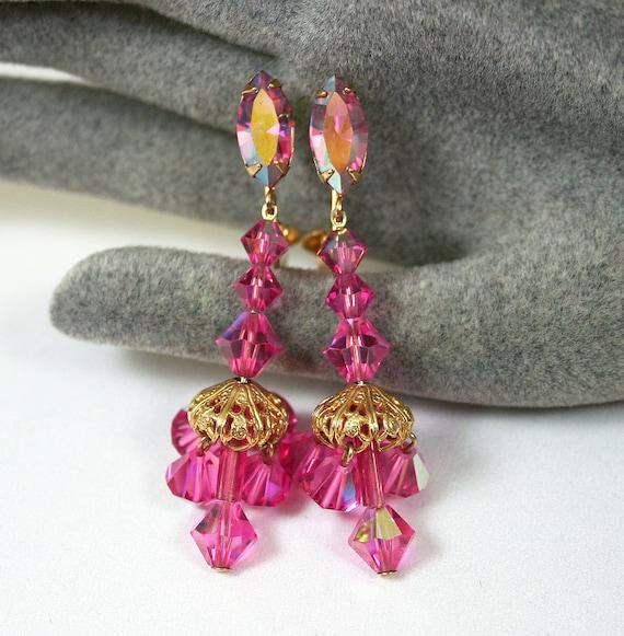 Vintage Earrings Pink Aurora Borealis Rhinestone Crystal Chandelier Jewelry