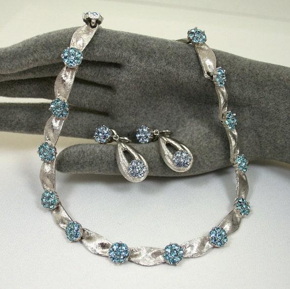 Vintage Trifari Necklace Earrings Blue Rhinestone Silvertone Antique Jewelry