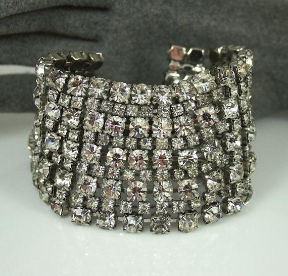 Vintage Bracelet Diamante Rhinestone Chunky Antique Jewelry