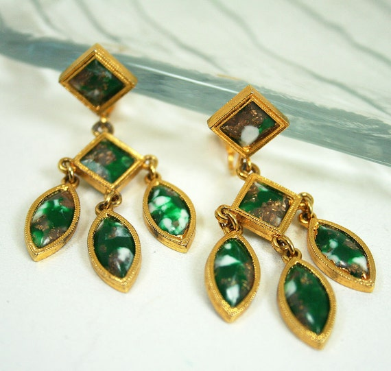 Vintage Earrings Celebrity Green Marble Glass Dangle Chandelier Jewelry