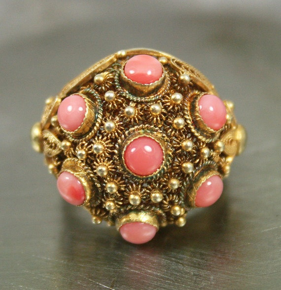 Vintage Ring Chinese Export Sterling Vermeil Filigree Coral Cabochon Antique Jewelry