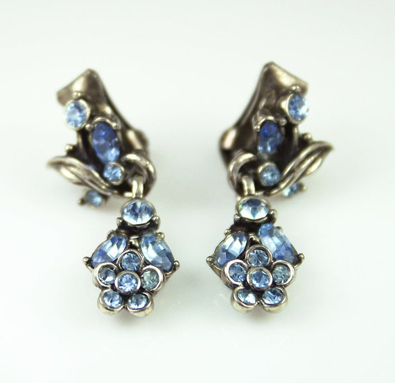 Vintage Hollycraft Earrings Powder Blue Rhinestone 1950s Jewelry
