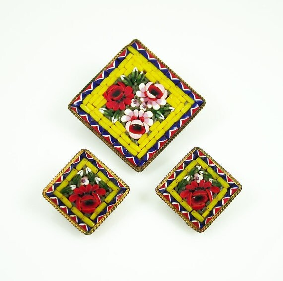 Vintage Minature Mosaic Italy Antique Brooch Earrings Set