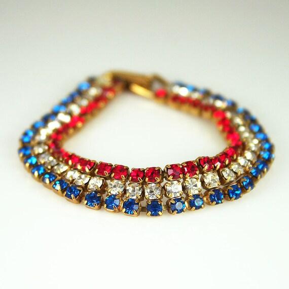 Vintage Red White Blue Rhinestone Patriotic Bracelet