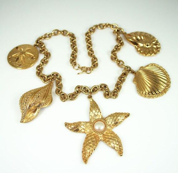 Vintage Necklace Kenneth Jay Lane KJL Avon Royal Sea Charm Jewelry