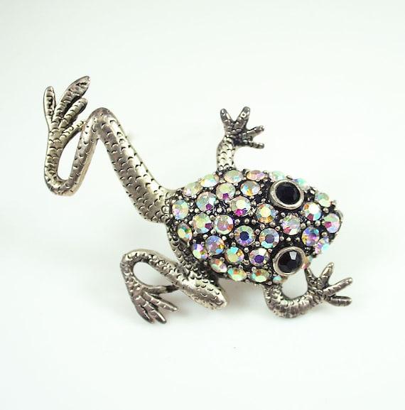 Vintage Brooch Frog Aurora Borealis Rhinestone Figural Jewelry