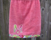 Personalized Children's Bath Wrap Cover Up- Any Fabric-Pink Patchwork Garden-