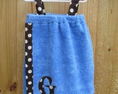 Personalized Children's Bath Wrap/Cover Up- Blue with Brown Polka dots