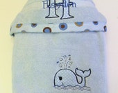 Personalized Children's Hooded Towel- Appliqued Embroiderd Towel- Children's Hooded Towel- Whale Hooded Towel