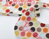 Personalized Bib and Burp Cloth Set- Baby Bib set- Baby Bib and Burp Cloth- Polka Dot Bib/Burp Cloth set-Personalized- Any Fabric