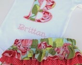 Personalized Initial Bodysuit and Diaper Cover Set- Embroidered Initial bodysuit- Ruffed and Diaper Cover Set-