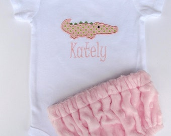 Personalized Embroidered Alligator Bodysuit and Diaper Cover Set- Baby girl set- Minky Diaper Cover- Any Fabric